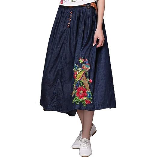 Falda elástica para mujer Falda vaquera de primavera para mujer ...