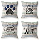 Joyceoo Outdoor Camping Travel Style Throwing Pillow Covers- Pillow Covers Cotton Linen - Woodgrain Camping Happy Camper-18' x 18' Set of 4