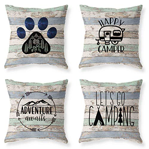 Joyceoo Outdoor Camping Travel Style Throwing Pillow Covers- Pillow Covers Cotton Linen - Woodgrain Camping Happy Camper-18