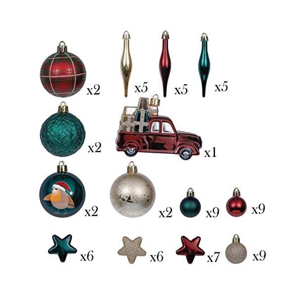 Valery Madelyn Palle di Natale 70 Pezzi di Palline di Natale, 3-6 cm di Strada di Campagna Rosso Verde e Oro Infrangibile Ornamenti di Palla di Natale Decorazione per la Decorazione 2 spesavip