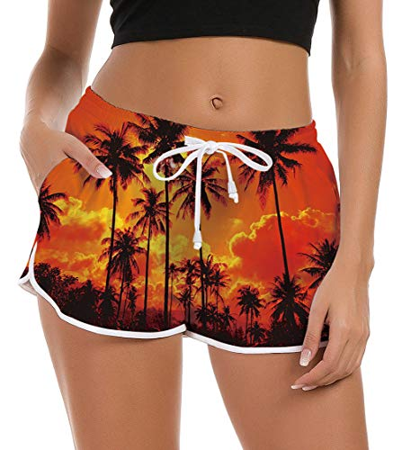 Women Board Shorts Funny Island Swim Trunk Brief Stretch Ladies Teen Girl Hawaiian Travel Outdoor 3D Graphic Surfing Swimsuit Bottom Running Swimwears Pool Bikini Beach Shorts Sleepwear Pant M