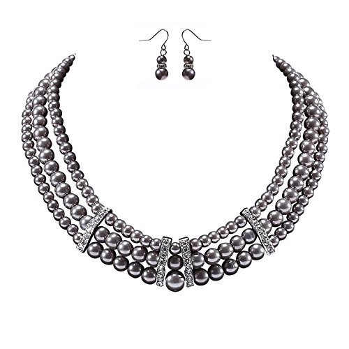 BABEYOND 1920s Gatsby Pearl Necklace Vintage Bridal Pearl Necklace Earrings Jewelry Set Multilayer Imitation Pearl Necklace with Brooch (Style 6-Gray) ()