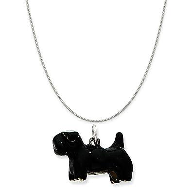 Pendant Tibetan Silver Dog Pendant Scottie Dog Girl Charm 2-Sided Charm