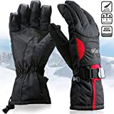 Padida Waterproof Mens Ski Gloves, Breathable Windproof Warm Skiing Snowboard Gloves, Winter Cold Weather Thinsulate Glove (Red,L)