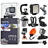 GoPro Hero 4 HERO4 Black CHDHX-401 with Opteka X-Grip + LED Light + Flexible Tripod + Chest Harness + Headstrap + Car Suction Cup + Handgrip Stabilizer + Floaty Strap + Selfie Stick + Wrist Glove