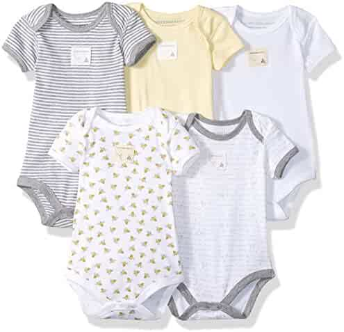 Burt's Bees Baby Set of 5 Bee Essentials Short Sleeve Bodysuits, 100% Organic Cotton