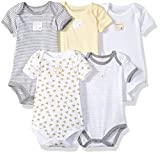 Burt's Bees Baby Unisex Baby Short Sleeve Bodysuits, Set of 5, 100% Organic Cotton, Sunshine Prints, 3-6 Months