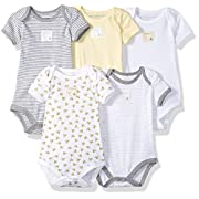 Burt's Bees Baby - Set of 5 Bee Essentials Short Sleeve Bodysuits, 100% Organic Cotton, Sunshine Prints (3-6 Months)