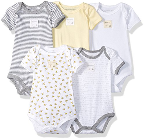 Burt's Bees Baby - Set of 5 Bee Essentials Short Sleeve Bodysuits, 100% Organic Cotton, Sunshine Prints (0-3 Months)