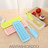 AMAZZANG-Creative Ice Cube Mold 33 Cube With Cover Maker Ice Lattice Box Scream Mold (ICE TRAY+SHOVEL)