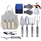 Hengu 10 Piece Garden Tools Set - Gardening Tools with Garden Gloves and Garden Tote - Gardening Gifts Tool Set with Garden Trowel Pruners and More, Gift for Man & Women