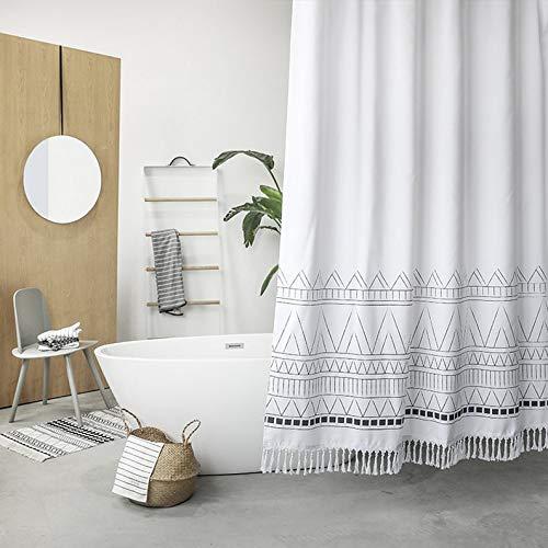Moii Boho Tasseled Shower Curtain, Fringes Fabric Bathroom Shower Curtain Water Resistant Cloth Bath Curtain Sets, 72 x 72