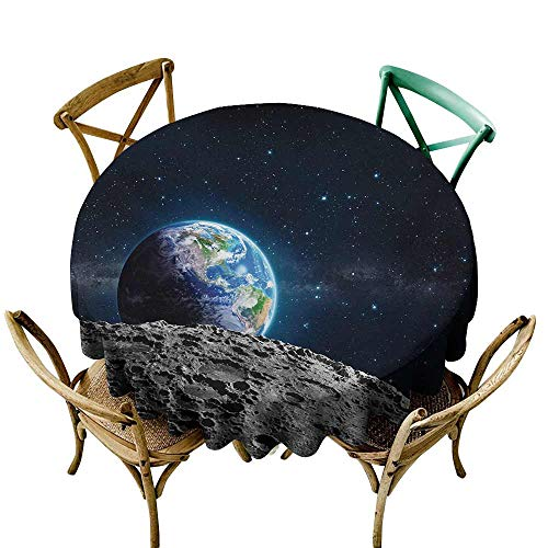 Zzmdear Polyester Tablecloth Galaxy View of Earth from Moon Surface Lunar Satellite Spacewatch Tracking Project Easy to Clean D59 Grey Dark Blue ()