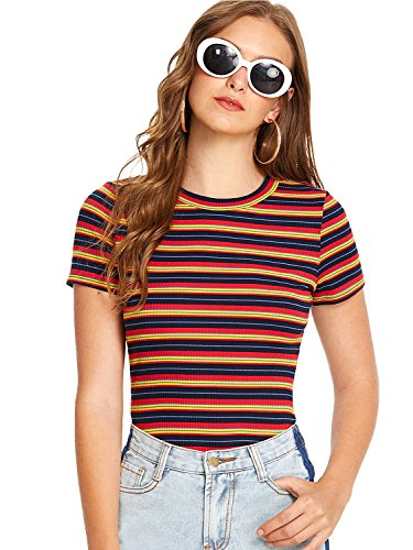Milumia Women's Casual Multi Striped Ribbed Short Sleeve Tee Knit Top Medium...