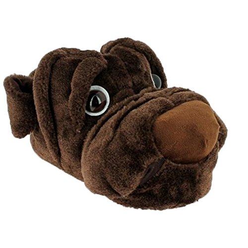 Magnus Witzige Herren Hausschuhe Hund Dogge Braun