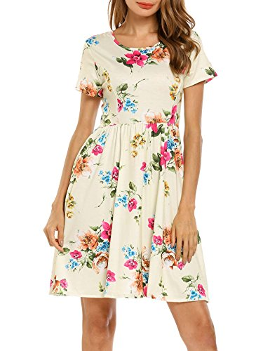 SE MIU Women Spring Short Sleeve Floral Cotton Casual Dress, Pattern-4, XXL