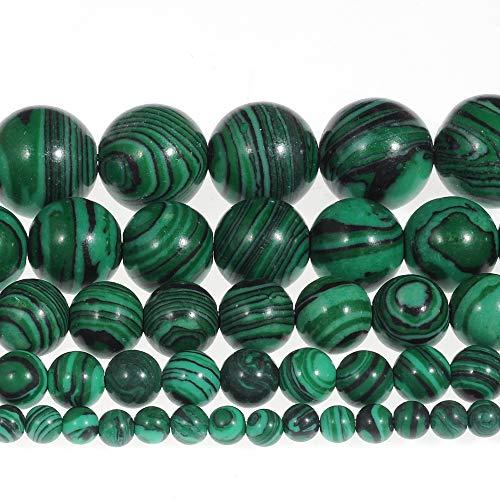 FANGQUN Green Malachite Beads for Bracelets Handmade Round Beads for Jewelry Making (8mm, 45pcs)