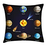 Queen Area Educational Realistic Solar System Planets and Space Objects Asteroids Comet Universe Space Square Throw Pillow Covers Cushion Case for Sofa Bedroom Car 18x18 Inch, Multicolor