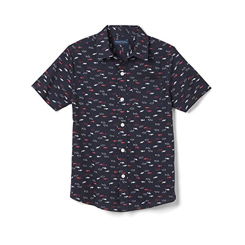 (French Toast Boys' Little Short Sleeve Woven Shirt, True Navy Shark, 7)