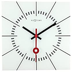 Unek Goods NeXtime Stazione Wall Clock, Glass Face with Black & Red Hands, Battery Operated, Square