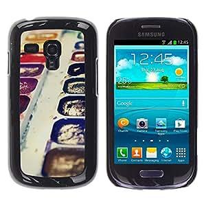 Qstar Arte & diseño plástico duro Fundas Cover Cubre Hard Case Cover para Samsung Galaxy S3 III MINI (NOT REGULAR!) / I8190 / I8190N ( Watercolors Art Painting Drawing Purple Kit)