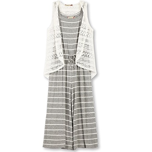 Price comparison product image Speechless Big Girls' 2 Piece Hodded Rib Knit Cropped Jumpsuit, Grey/Ivory, M
