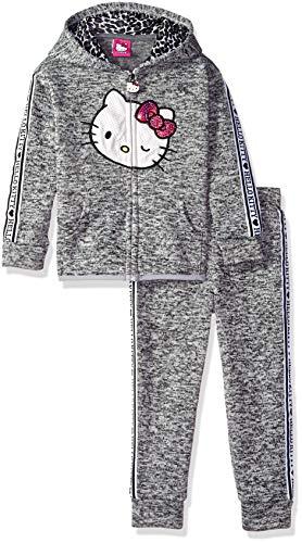 (Hello Kitty Little Girls 2 Piece Hooded Fleece Active Set, Heather Gray, 6 )