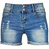Phoenising Women Sexy Stretchy Fabric Hot Pants Distressed Denim Shorts Size 2 16