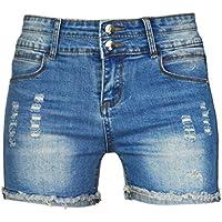 phoenising Mujer Sexy elástico caliente pantalones Distressed Vaqueros Cortos para Hombre, tamaño 2–16