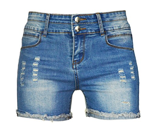 (PHOENISING Women's Sexy Stretchy Fabric Hot Pants Distressed Denim Shorts,Size 2-16)