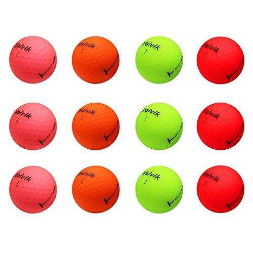 Volvik Vivid Bulk Golf Balls - Mixed Dozen (Matte Green, Orange, Pink & Red)