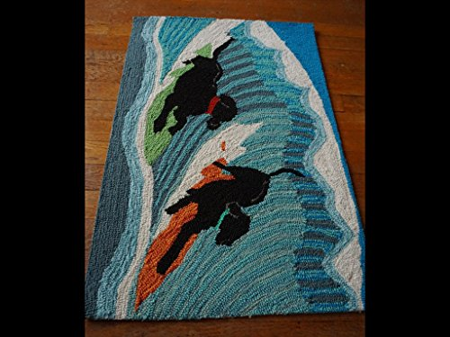 Surfing Black Lab Dogs Surfboard Hand Tufted Rug Surfer Beach Bar Home Decor
