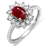 Kate Middleton Diana Inspired 18K White Gold Round Diamond & Oval Ruby Engagement Ring