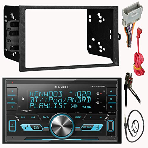 Kenwood Double 2 Din CD MP3 Car Stereo Receiver Bundle Combo with Metra installation kit for car stereo (Fits Most GM Vehicles) Wire Harness, Enrock 22