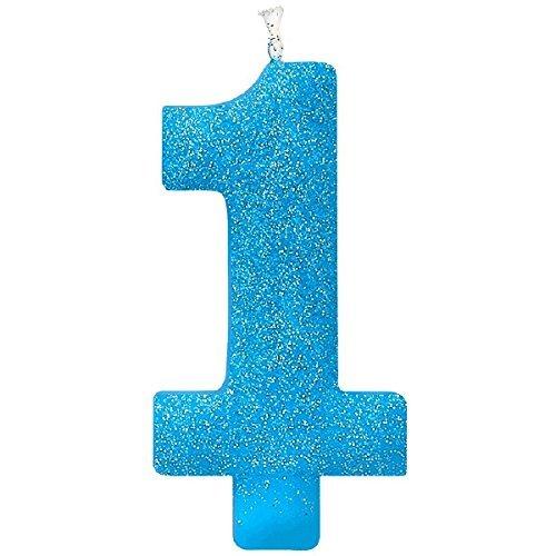 Little Buddy Boys' 1st Birthday Party #1 Birthday Glitter Candle , Blue, Wax , 5