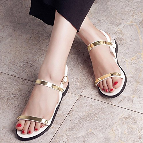 Stylish Sling Sandals Open Toe No Womens White Buckle Back Heel Easemax Gladiator Oqw5STa4