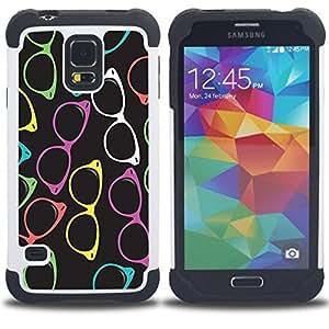 Dragon Case- Dise?¡Ào de doble capa pata de cabra Tuff Impacto Armor h??brido de goma suave de silicona cubierta d FOR Samsung Galaxy S5 I9600 G9009 G9008V- YELLOW RED GLASSES PURPLE COLORFUL FRAME