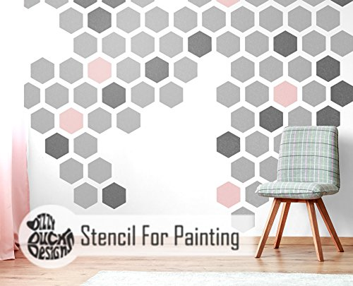 HEXAGON Furniture Wall Floor Stencil for Painting - Wall (Large Hexagon Post)