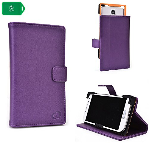 PURPLE   PU LEATHER UNIVERSAL PHONE HOLDER WITH STAND  FITS Straight Talk L38C LG Optimus Dynamic