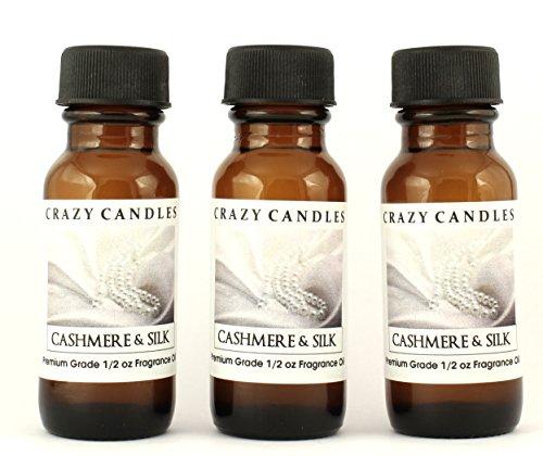 Cashmere & Silk 3 Bottles 1/2 Fl Oz Each (15ml) Premium Grade Scented Fragrance Oil By Crazy Candles (Blend of French Vanilla, Sandalwood, Patchouli, Musk, Rose, Violet, Apricot, and Coconut Milk) (Violet Patchouli)