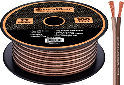 InstallGear 12 Gauge Speaker Wire - 99.9% Oxygen-Free Copper - True Spec and Soft Touch Cable (100-feet) (Gauge Oxygen Free Speaker Cable)
