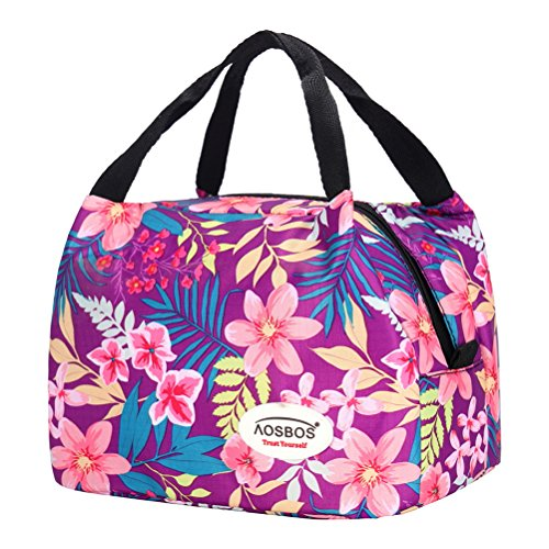 Junk Food Flower - Aosbos Reusable Insulated Lunch Box Tote Bag (Rich Flowers)