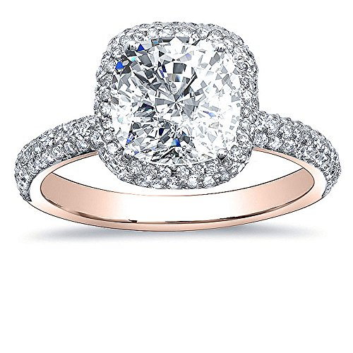 Diamond Mansion's Natural Cushion Halo Micro Pave Diamond Engagement Ring - GIA Certified (rose-gold, 2.90) -