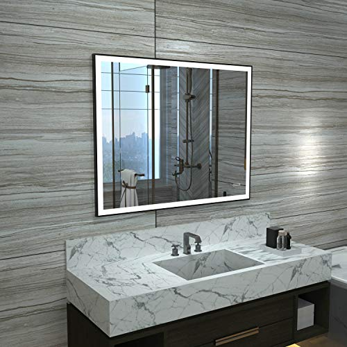 HAUSCHEN 28x36 inch Black Framed LED Bathroom Wall Mounted Mirror with High -