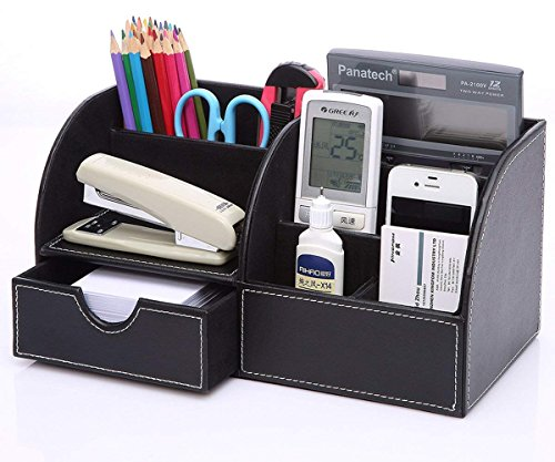KINGOM™ 7 Storage Compartments Multifunctional PU Leather Office Desk Organizer,Desktop Stationery Storage Box Collection, Business Card/Pen/Pencil/Mobile Phone /Remote Control Holder Desk Supplies Organizer (Multi Functional Desktop Organizer)