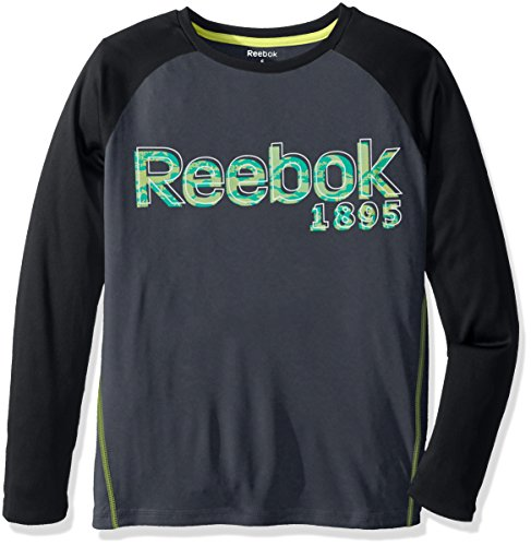Price comparison product image Reebok Big Boys' Long Sleeve Active T-Shirt, Echo Grey, M (10/12)