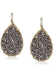 Panacea Beaded Crystal Silver Teardrop Earrings
