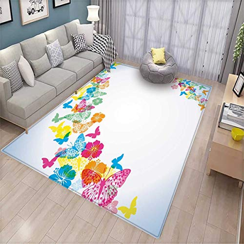 Luau Bath Mat 3D Digital Printing Mat Fantastic Festive Fun Party Borders with Colorful Butterfly Silhouettes and Florets Door Mat Increase Multicolor