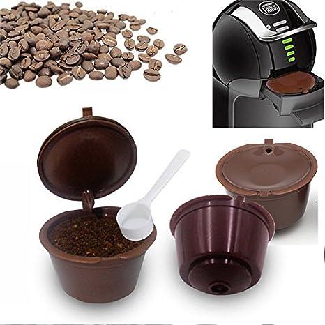 Raza 3pcs/lot reutilizable cápsulas recargables con una cuchara de plástico cestas de filtro de café para cafeteras Dolce Gusto reutilización Recambio Filtro de taza: Amazon.es: Hogar