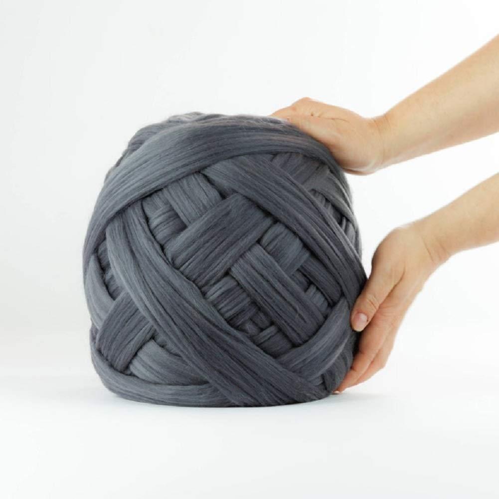 Giant Yarn for Arm Knitting or Roving Chunky Merino Wool Yarn Super Bulky Yarn Extreme Knitting Crochet Weaving Dark Gray 8 lbs